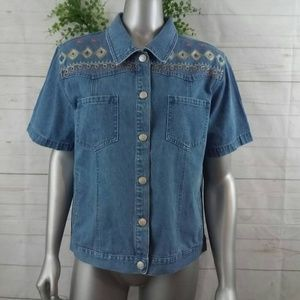 Denim & Co Jean Button Up T-Shirt LG
